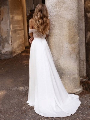 White Simple Wedding Dress Satin Fabric Strapless Sleeveless Cut Out A-Line Off The Shoulder Long Bridal Dresses_5