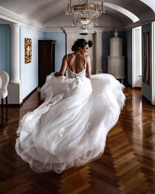 Einfache A-Linie Brautkleider Weißer V-Ausschnitt Tüll Spitzenapplikationen Brautkleid_3