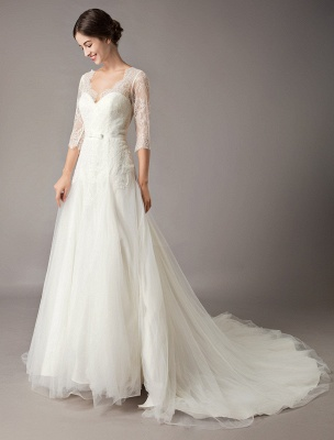 Wedding Dresses A Line Ivory V Neck Lace Tulle Half Sleeve Bridal Dress With Train_5