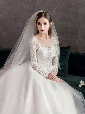 New Vintage Wedding Dresses Eric White Jewel Neck Long Sleeves Natural Waist Satin Fabric Cathedral Train Applique Traditional Dresses For Bride_6