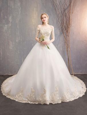 Tulle Wedding Dress Off The Shoulder Half Sleeve Princess Bridal Gown_12