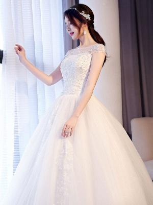 Princess Wedding Dresses Lace Beaded Ball Gowns Sleeveless Floor Length Bridal Dress_5