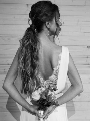 Vestido de novia blanco simple con tren Escote en V Sin mangas Sin espalda Encaje Una línea de vestidos de novia de gasa_6