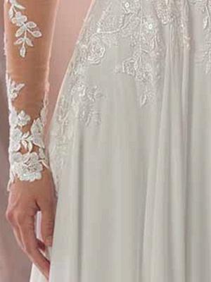 Spitze Brautkleider 2021 Chiffon V-Ausschnitt A-Linie Langarm Spitze Applique Strandhochzeit Brautkleid mit Zug Freie Anpassung_7