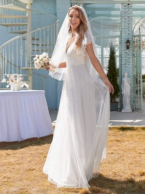 White Simple Wedding Dress Lace V-Neck Short Sleeves Backless Ruffles A-Line Natural Waist Long Bridal Gowns_4