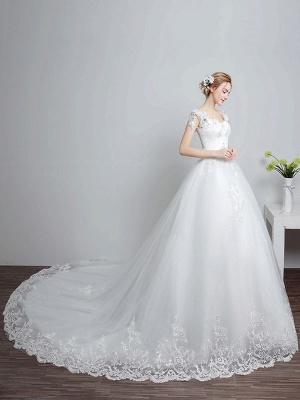 Prinzessin Brautkleider Elfenbein Backless Brautkleid Spitze Applique V-Ausschnitt Langer Zug Brautkleid_3