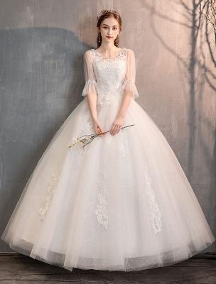 Tüll Brautkleid Elfenbein Spitze Applique Blumendetail Halbarm Prinzessin Brautkleid_3