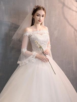 Spitze Brautkleider Elfenbein Schulterfrei Spitze Applique Prinzessin Brautkleid_6