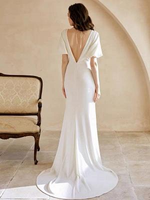 Weißes einfaches Brautkleid mit Zug A-Linie Meerjungfrau V-Ausschnitt Kurze Ärmel Polyester Brautkleider_3