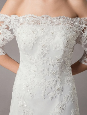 Wedding Dresses Ivory Lace Off Shoulder Half Sleeve Sequin Applique Bridal Dress With Train Exclusive_7