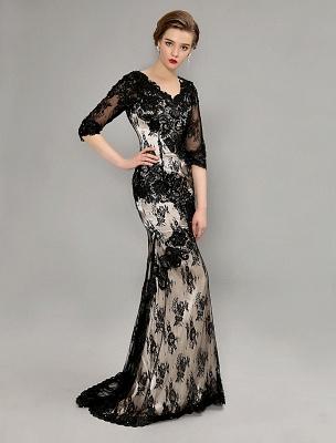 Black Wedding Dress Lace Mermaid V-Neck Dress With 3/4 Sleeves_3