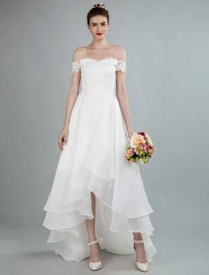 Einfaches Brautkleid A Line Off The Shoulder Ärmellose Spitze Brautkleider Mit Zug Exklusiv_2