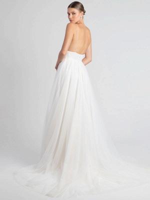 White Wedding Dress V-Neck Sleeveless With Train Natural Waist Backless Long Bridal Dresses_5