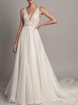 Simple Wedding Dress 2021 A Line V Neck Sleeveless Beaded Bridal Dresses With Train_1