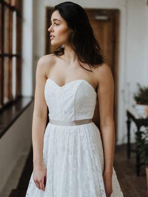Einfache Brautkleider Brautkleider aus Spitze Trägerlose Brautkleider in A-Linie_3