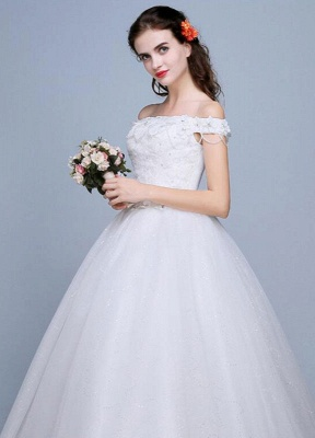 Lace Wedding Dress Off The Shoulder Floor Length Lace Up Applique Bridal Dress With Beads Sequins_5