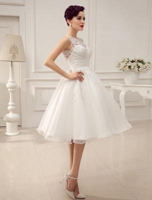 Kurze Brautkleider Vintage 1950er Brautkleid rückenfrei Spitze Perlen Plissee Pailletten Illusion Hochzeitsempfang Kleid mit exklusiven_6
