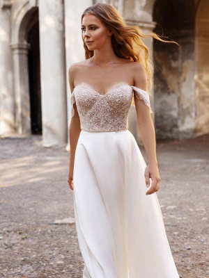 White Simple Wedding Dress Satin Fabric Strapless Sleeveless Cut Out A-Line Off The Shoulder Long Bridal Dresses_6