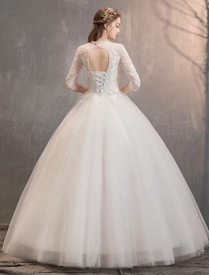 Tüll Brautkleider Elfenbein Illusion Ausschnitt Halbarm Bodenlangen Prinzessin Brautkleid_8