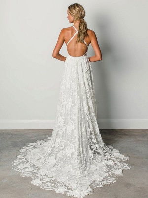 Beach Wedding Dress With Chapel Train White V-Neck Sleeveless Backless Lace Split Long Bridal Gowns_3