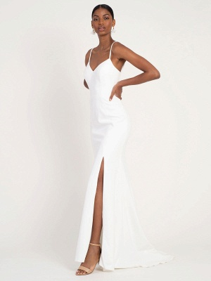 White Simple Wedding Dress Mermaid V-Neck Sleeveless Spaghetti Straps Natural Waist Satin Fabric Split Front Bridal Gowns_3