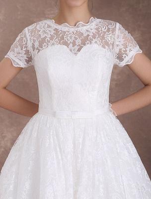 Lace Wedding Dresses Short Sleeve 1950'S Vintage Bridal Dress Sweetheart Illusion Ivory A Line Tea Length Wedding Reception Dress Exclusive_7