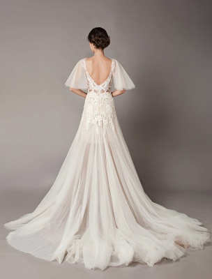 Boho Wedding Dresses Tulle Lace V Neck Butterfly Sleeve Backless Summer Beach Bridal Gowns_8