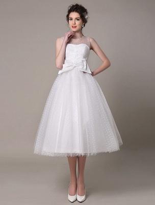 Vestido de novia de tul Sin tirantes Una línea Hasta el té Vestido de novia con lazo Exclusivo_2