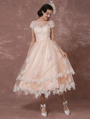 Wedding Dress Short Vintage Bridal Dress Backless Illusion Lace Applique Tea-Length A-Line Reception Bridal Gown Exclusive_7