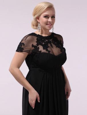 Black Prom Dresses Plus Size Evening Dress Chiffon Lace Applique Illusion Short Sleeves Floor Length Wedding Guest Dress Exclusive_9