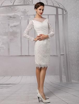 Vestidos de novia sencillos 2021 Corto Manga larga Escote de ilusión Koyhole Hasta la rodilla Vestido de novia con vaina Exclusivo_5