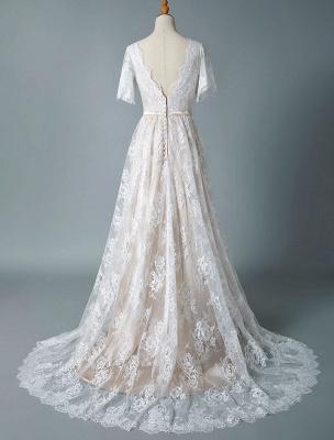 Einfaches Hochzeitskleid 2021 V-Ausschnitt A-Linie Kurzarm Tiefes V Backless Lace Brautkleider_6