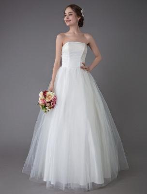 Tulle Wedding Dress Ivory Strapless Sleeveless Princess Dress Ball Gown Floor Length Bridal Dress Exclusive_3