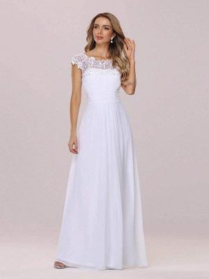 Vestido de novia blanco simple Encaje Joya Cuello Mangas cortas Sin espalda Cintura natural Plisado Gasa Encaje Una línea Vestidos de novia largos_5
