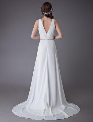 Beach Wedding Dresses Chiffon V Neck High Low Sash Summer Bridal Dress Exclusive_8
