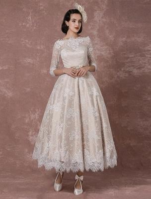 Lace Wedding Dress Vintage Bateau Champagne Half Sleeves Bridal Gown A Line Backless Tea Length Sash Reception Bridal Dress Exclusive_3