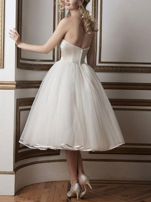 Vintage Brautkleider 2021 Sweetheart Neck Sleeveless A Line Tee Länge Brautkleider_2