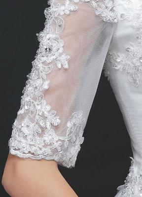 Vestido de novia de princesa fuera del hombro Vestido de novia con cuentas de encaje Vestido de novia de media manga blanco Vestido de novia con tren de la catedral_5
