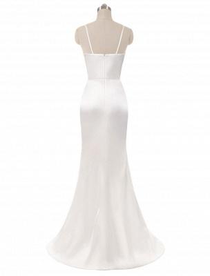 Brautkleider Meerjungfrau Ärmellose Abendkleider V-Ausschnitt Träger Split Elfenbein Brautkleid mit Hofzug Bridal_3