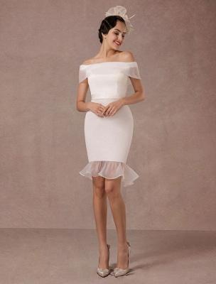 Kurzes Brautkleid Meerjungfrau Off-The-Shoulder Satin Vintage Brautkleid Rüschen Mini Braut Sommer Brautkleider 2021 Exclusive_1