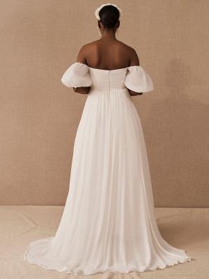 Weißes einfaches Brautkleid A-Linie schulterfrei Chiffon trägerlose lange Brautkleider_4