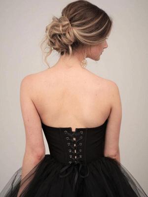 Black Wedding Dresses A-Line Strapless Pleated Taffeta Tulle Chapel Train Bridal Dress_3