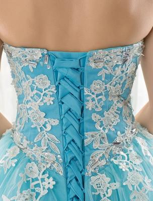 Blaues Hochzeitskleid Spitze Applique Tüll Hof-Schleppe Trägerlos Schatz Lace-Up A-Linie Brautkleid_2