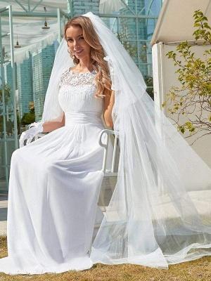Vestido de novia blanco simple Encaje Joya Cuello Mangas cortas Sin espalda Cintura natural Plisado Gasa Encaje Una línea Vestidos de novia largos_3
