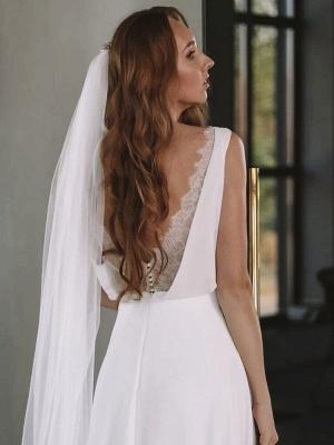Vestido de novia blanco simple con tren Escote en V Sin mangas Sin espalda Encaje Una línea de vestidos de novia de gasa_5