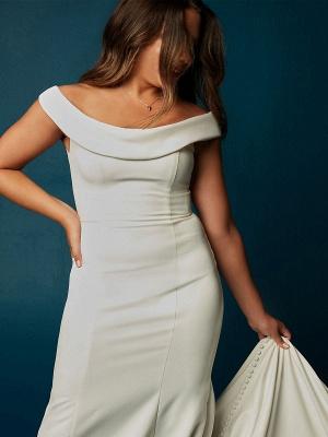 Weiße Meerjungfrau Brautkleider mit Kapelle-Schleppe Stretch-Krepp Ärmellos Off-Shoulder-Knöpfe Natürliche Taille Rückenfreie Brautkleider_3
