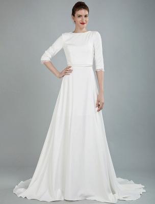 Einfache Hochzeitskleid Perlen Schärpe Rückenfrei Bateau-Ausschnitt Halbarm A-Linie Brautkleider Mit Hofzug Exklusiv_4