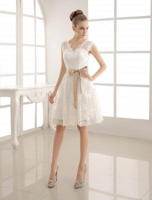 Ivory Simple Wedding Dresses 2021 Lace Applique V Neck Ribbon Sash Short Bridal Dress Exclusive_2