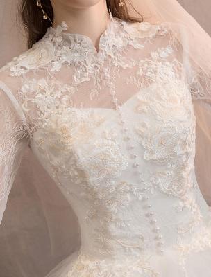 Tüll Brautkleider Elfenbein Illusion Ausschnitt Halbarm Bodenlangen Prinzessin Brautkleid_6