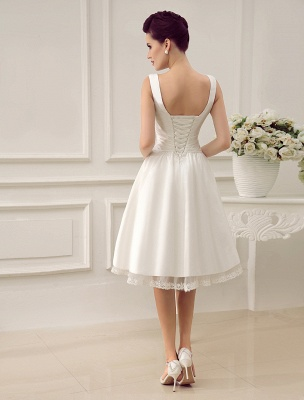 Simple Wedding Dresses Ivory Wedding Dress Knee-Length Backless Straps Lace Bridal Dress Exclusive_4